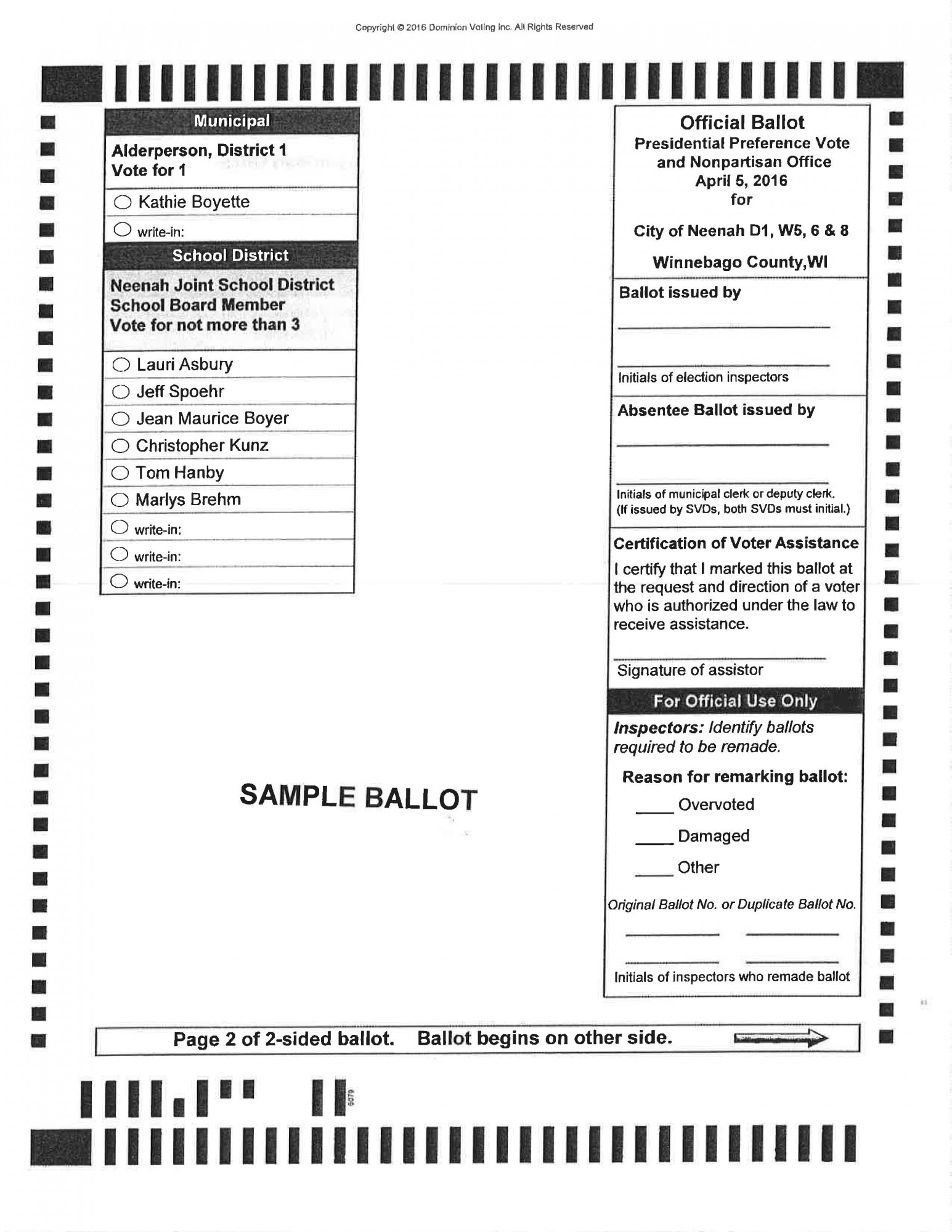 Presidential candidate vice presidential candidate political party popular vote electoral vote; City Of Neenah Sample Ballots
