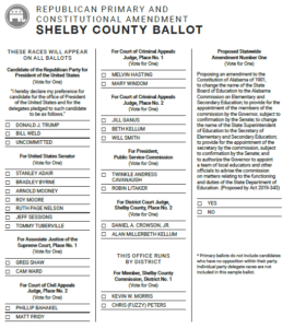 Find your polling place download election forms at : Shelby County Republican Party Sample Ballot Birminghamwatch