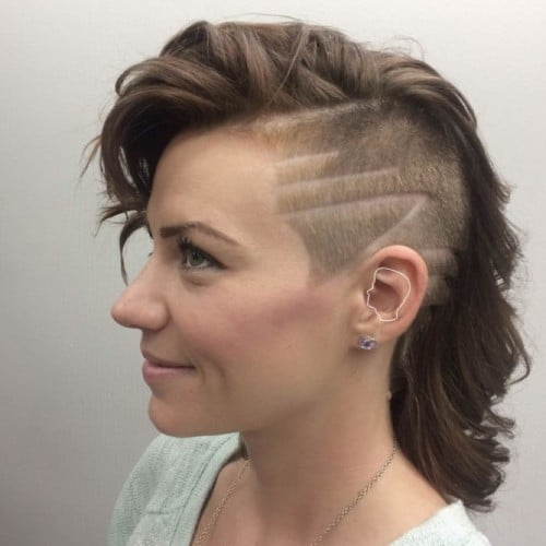 An intricate hair tattoo becomes the focal point with the addition of hair glitter and jewels. Undercuts For Women Hit The Barbershop