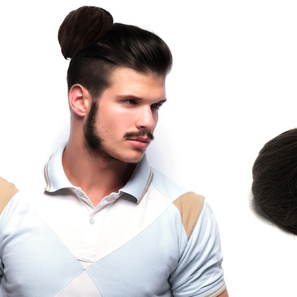 3.use bobby pins to secure the man bun, decide bobby pins are too mainstream, use antique paper clips instead attachable hairpiece; Clip In Man Bun Groupon